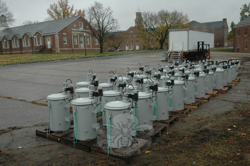 Electrical transformers were stockpiled at Fairfield Hills early this week before Storm Sandy hit the area.  Connecticut Light & Power (CL&P) utility crews would use the equipment to replace transformers that were damaged by the storm that hit on Monday and Tuesday. (Gorosko photo)