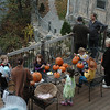 Festive pumpkin-related activities for children on a deck overlooking the Pootatuck River were part of the Sandy Hook Halloween Walk in Sandy Hook Center. (Gorosko photo)