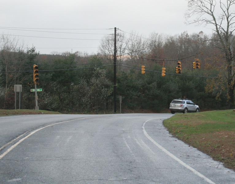 As with many predecessors, Sandy's wrath knocked signal lights across town offline, including these at the intersection of Berkshire Road and Toddy Hill Road, seen Tuesday morning. Proceeding through major intersections required more care than usual, with some drivers stopping at all locations, while others did not even slow down. No motor vehicle accidents were reported, fortunately. (Hicks photo)