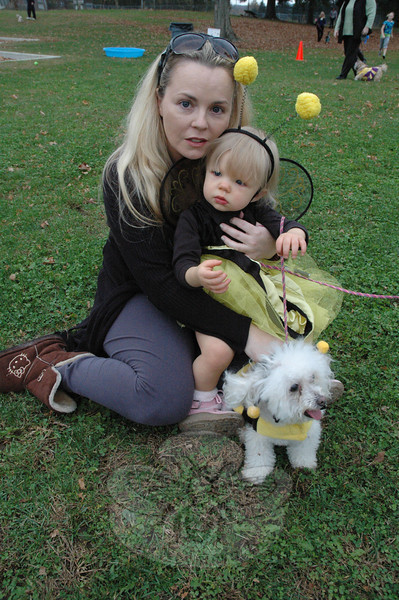 Marisol Vaughn, 14 months old, who was dressed as a bee, is held by her mother Karen Vaughn. Their pet toy poodle Pebbles was also dressed as a bee. (Gorosko photo)