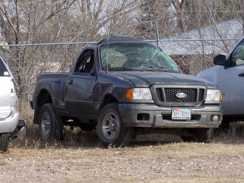POOR PEPE<br /> Brewster County Sheriff's Impound, Alpine, Texas<br /> <br /> Boy, is that a sad sight, or what? It just makes me sick to look at it. This is what a double rollover will do to a small truck.