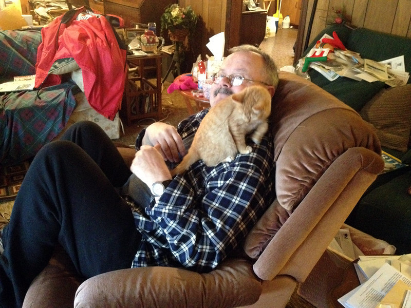 ME AND MY BUDDY<br /> This is sweet, little Rosie, one of three kittens Lyn and Joe have, and they did as much to aid in my recuperation as anything. There really are recuperative powers in the act of petting animals, I truly believe that. I miss those little guys.