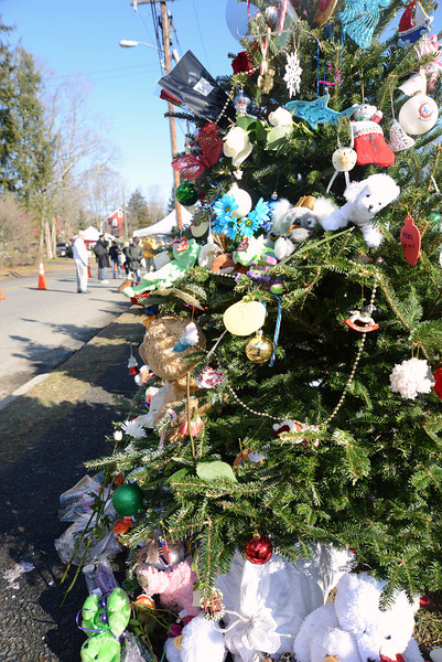 Decorated Christmas trees that first appeared this weekend have grown in number and decorations at the head of Dickenson Drive that leads to Sandy Hook School. The location has also become a growing memorial location where mourners leave their token gifts. (Bobowick photo)