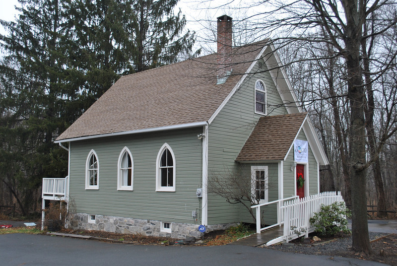 The historic Hawleyville Chapel on Route 25 is the home of the new Sound Center for Music, Creative Arts & Mindfulness, offering classes and guidance in sound- and music-related therapy and exploration, as well as cooking, art,  and movement programs. (Crevier photo)