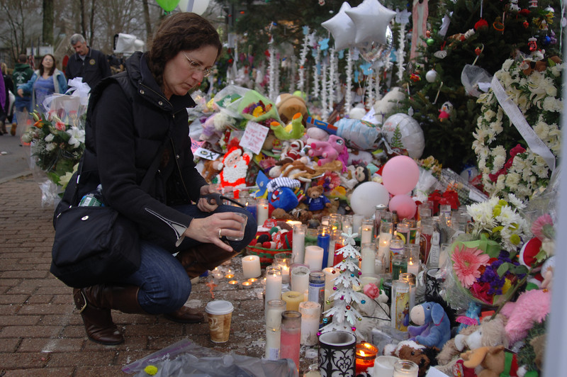 Purchase, N.Y., resident Susan Morgan visited Newtown Tuesday with the hope of supporting those grieving in Newtown. (Bobowick photo)