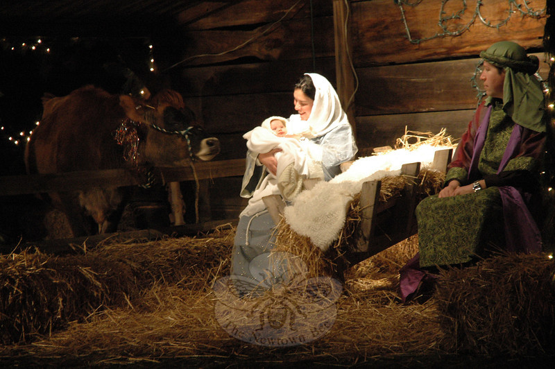 On the night of Saturday, December 15, St Rose of Lima Church staged a Living Nativity event on the church grounds on Church Hill Road. The tableau vivant illustrated the birth of Jesus in a manager in Bethlehem. This year, the 13th annual event included a camel for the first time. The nativity followed a Mass at the Roman Catholic Church. Parishioners shared hot cocoa and baked goods in the church hall following the Living Nativity. (We apologize that these photos ran last week with an unrelated press release.) (Gorosko photo)