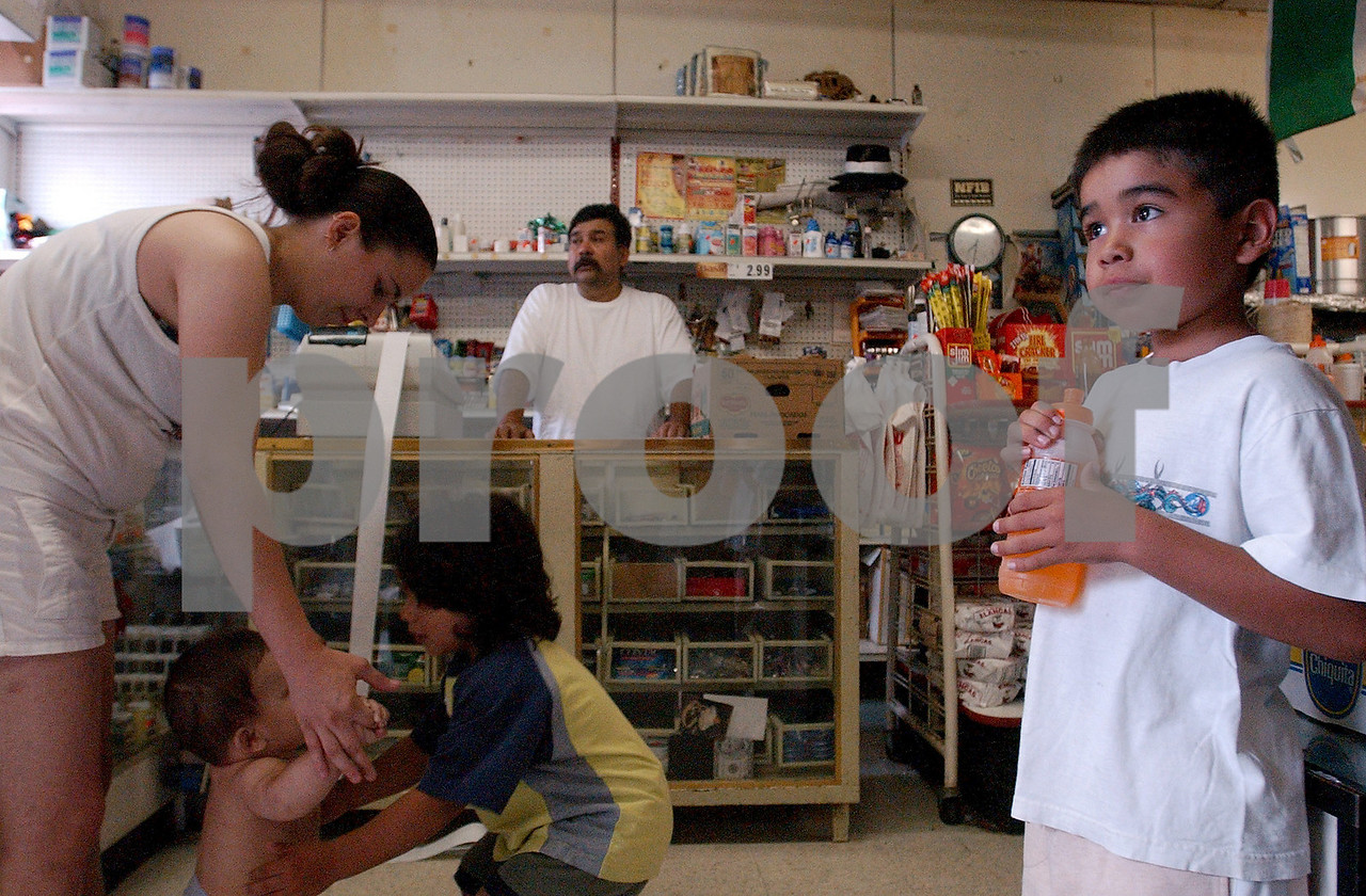 Mario Ramierez watches from the counter as Brittany Emerson and her son, Christian Becerra, 8 months, play with Gabriel Ramierez, 3, while Emmanuel Ramierez, 7, enjoys an orange drink in the East Ave. store Saturday, 06/25/05. Emmanuel and Gabriel are two of the seven boys born at Fort Hamilton Hospital to Mario and Ramona Ramierez.<br /> Photo by E.L. HUBBARD