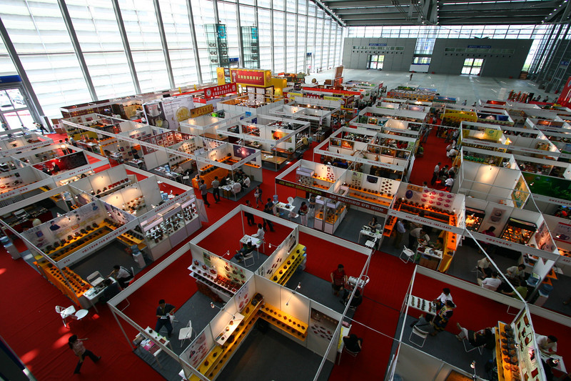 An overhead view of the tea expo