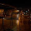 empty sidewalk tables