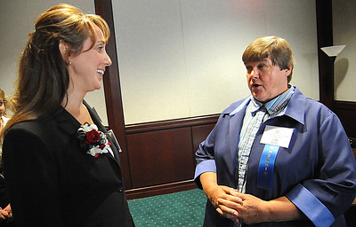 Brooke Bader, left, with Jan Sito at the Elyria Sports Hall of Fame induction banquet at LCCC on May 4.    Steve Manheim