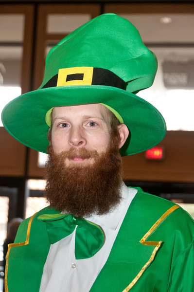 Paul Ginsburg dresses as a Leprechaun for the Purim Carnival.