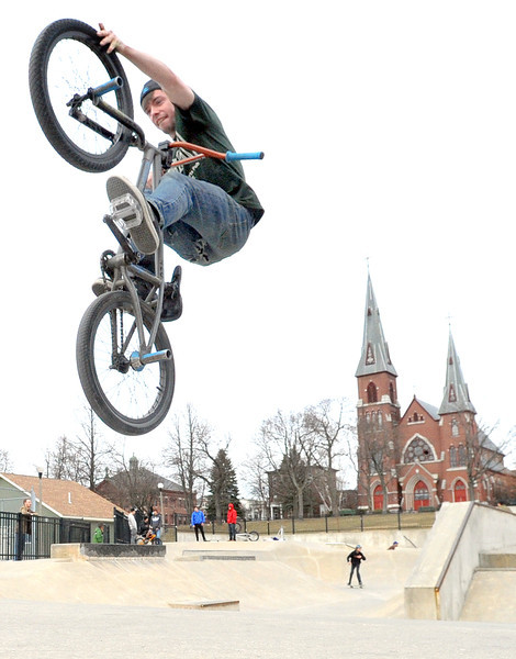 Flying high out of the skatepark