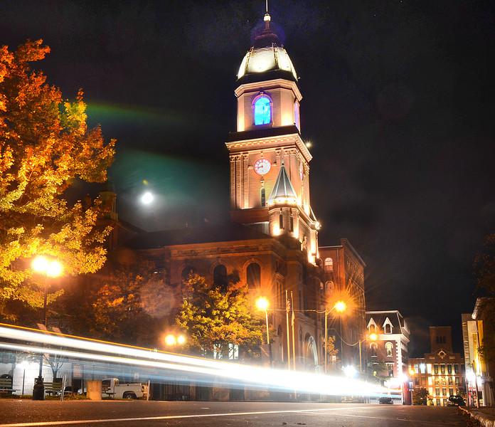 Lewiston City Hall all lit up