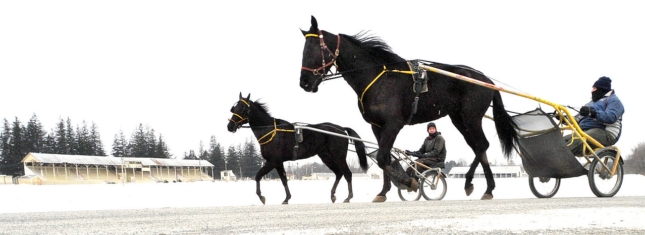 Even though there is no racing during the winter months in Maine, pacers need to be exercised to stay in shape.  Mike Cushing, right and Steve Wilson, background, from Farmington, make their way around the Farmington Fairgrounds, that last of 16 horses to have a trott, just as snow begins to fall.