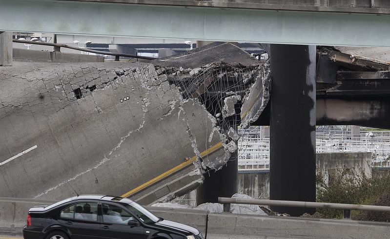 A driver sizes up the destruction