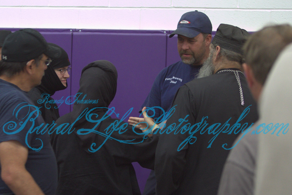 Some of the Sisters and Father Michael from the Monastery talking to the Rural 7 Fire Chief after the Briefing.