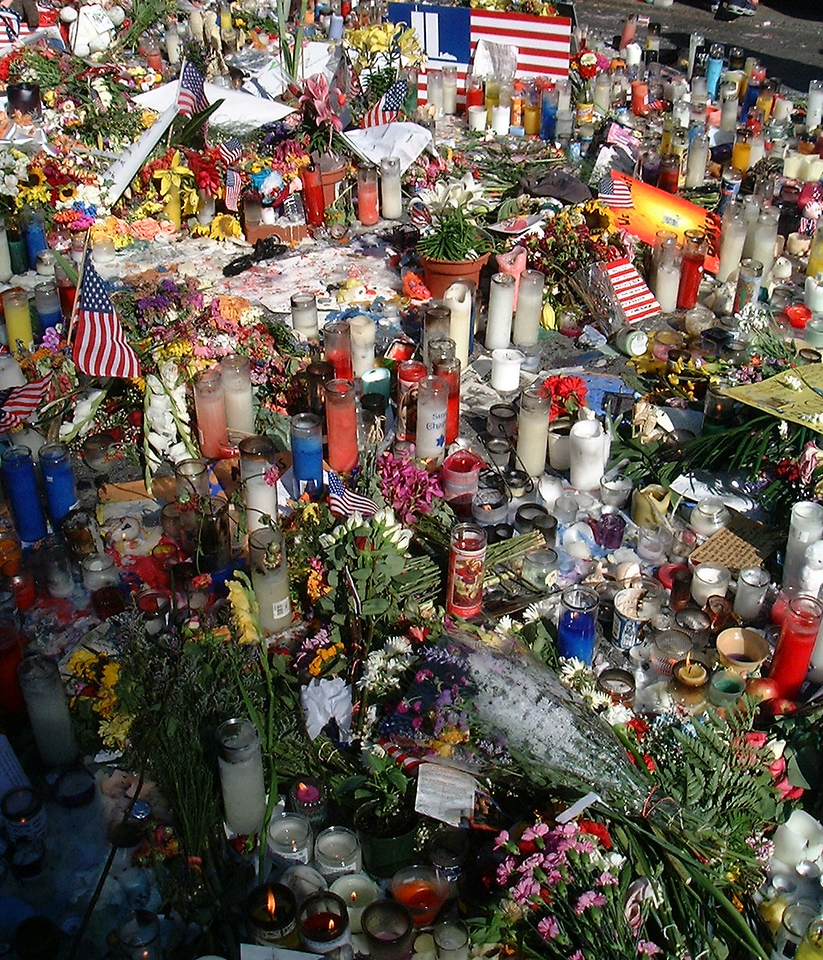 One of many makeshift memorial sites set up in the attack aftermath. Three thousand Americans, including scores of first responders who rushed into the the doomed buildings to save those trapped inside, were lost that September day.