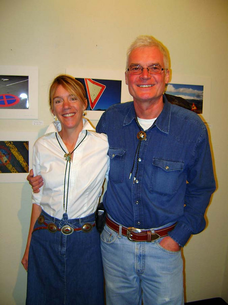"SALLIE AND JOHANNES<br /> I didn't get any photos of Johannes' exquisite photography, but you can get a glimpse of some of his more graphic work behind them here. When I first laid eyes on these particular pieces (there were several styles represented throughout the exhibit), I was shocked to find they looked so similar to work I did a number of years ago. It was amazing.<br /> <br /> Well, that'll give you a taste of the event for now, but if you'd like to check out my photo gallery and catch the whole show, copy and paste this link in to your search window (I can't get the link to appear):<br /> <a href=""http://highroad.smugmug.com/gallery/7303514_XiVsW#P-1-12"">http://highroad.smugmug.com/gallery/7303514_XiVsW#P-1-12</a>"