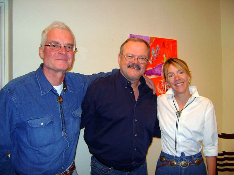 DOUG WITH THE ARTISTS<br /> Here I am in the foyer of Building 98 with friends Johannes and Sallie. Johannes is from Salzburg, Austria, and I just found out that Sallie's from, of all places, Fort Worth. I had no idea. Hey, we were neighbors!