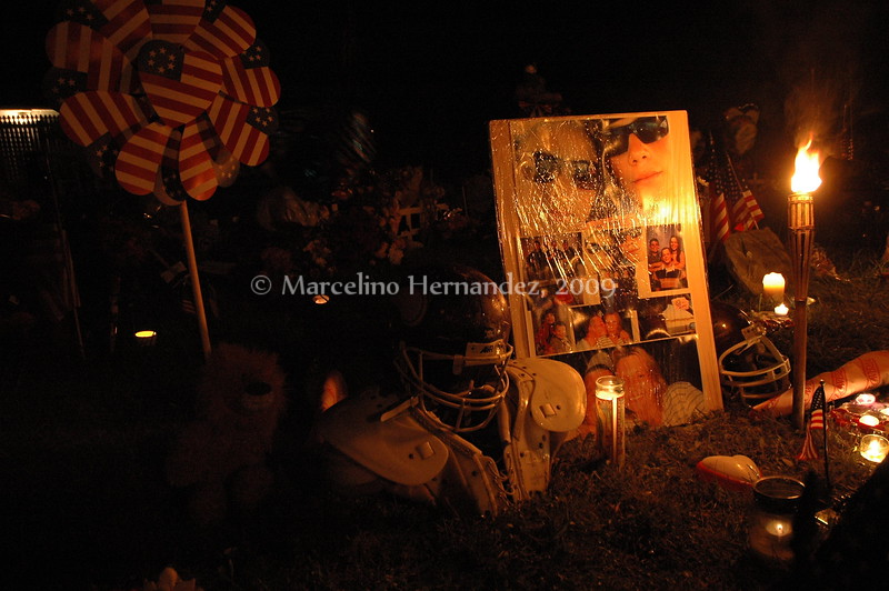 Friends and family left well wishes in this memorial outside his house.