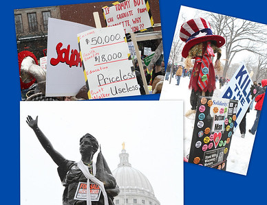 "Lady Wisconsin for Sale along with ""Kill the Bill"" buttons.  Meanwhile, Education is valued at ""Priceless"" while the new Governor gets a ""Useless"" value"