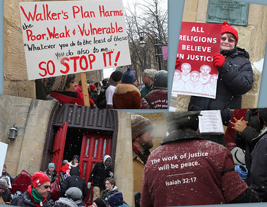 The voice of religion in the streets - young and older joined in support of worker's rights and social justice.