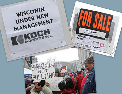 A prevalent theme - big campaign contributions from the Koch Brothers are putting the state of WISCONSIN (spelled correctly here vs. incorrectly on the two signs) up for sale