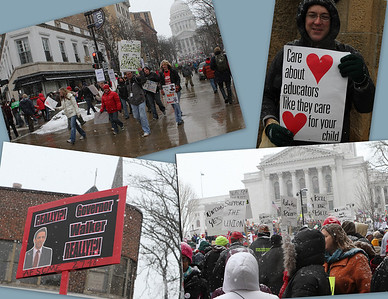Signs of the time - Public employees including teachers, police, and emergency workers gather by the tens of thousands to protest Gov. Scott Walker's bill to eliminate collective bargaining.