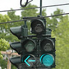 A new set of traffic signals has been installed at the intersection of Riverside Road, Washington Avenue, Church Hill Road and Glen Road in Sandy Hook Center. The new equipment displays signals for protected left turns, making the intersection a safer place to drive. The signal that is shown is in its green protected-left-turn phase.     (Gorosko photo)