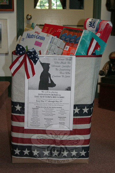 The Newtown Bee, in conjunction with VFW Post 308, recently hosted a collection for items to be sent to active duty United States service men and women. Residents were encouraged to drop off items at The Bee's office on Church Hill Road, and we are pleased to announce the response was fulfilling. The collection bin was overflowing on May 29, the final day of the collection, with coffee and licorice, crackers, cookies and cereal bars, gum, beef jerky, personal hygiene items, and much more. The entire collection will be delivered to the VFW on Tinkerfield Road by the weekend, and shipped out shortly.   (Hicks photo)