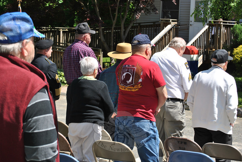 "Veterans of wars fought to defend the United States of America stand and are recognized at the Memorial Day ceremony, Monday, May 27, at the VFW Post 308.	(Crevier photo)<br /> <br /> PLEASE NOTE: Additional photos from this event, which were presented online in a slideshow, can be viewed here: <a href=""http://photos.newtownbee.com/Journalism/Holidays/Veterans-Commemorated-At-VFW/29733720_LZ7Qnb#!i=2546610069&k=qc4wczd"">http://photos.newtownbee.com/Journalism/Holidays/Veterans-Commemorated-At-VFW/29733720_LZ7Qnb#!i=2546610069&k=qc4wczd</a>"
