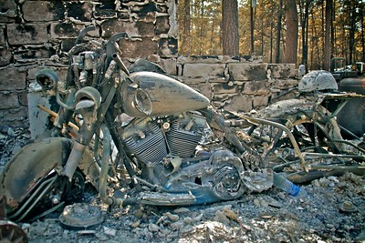 The scorched remains of a $40,000 Harley.