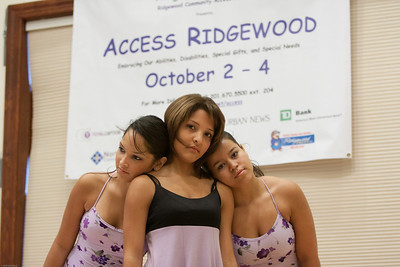(1) Slug #: W 24464; (2) Ridgewood, NJ; (3) 10/03/09; (4) Ridgewood Community Access Network Presents Access Ridgewood on 10/3/2009; (5) Performers Daniela Carvalho, Maria Carvalho, and Alejandra Poldan (L-R), of the Hand-Cap Dance Company on stage during Acces Ridgewood on 10/3/2009; (6) W.H. GRAE for the Ridgewood News.