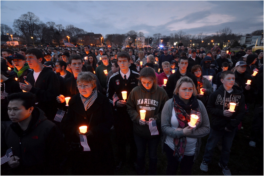 Vigil held April 16 at Garvey Playground in Dorchester in memory of Martin Richard, the 8 year-old boy from that part of Boston who was killed in the bombing.