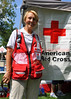 A volunteer nurse with American Red Cross at President Obama's campaign speech, at Colorado College, on August 9, 2012.