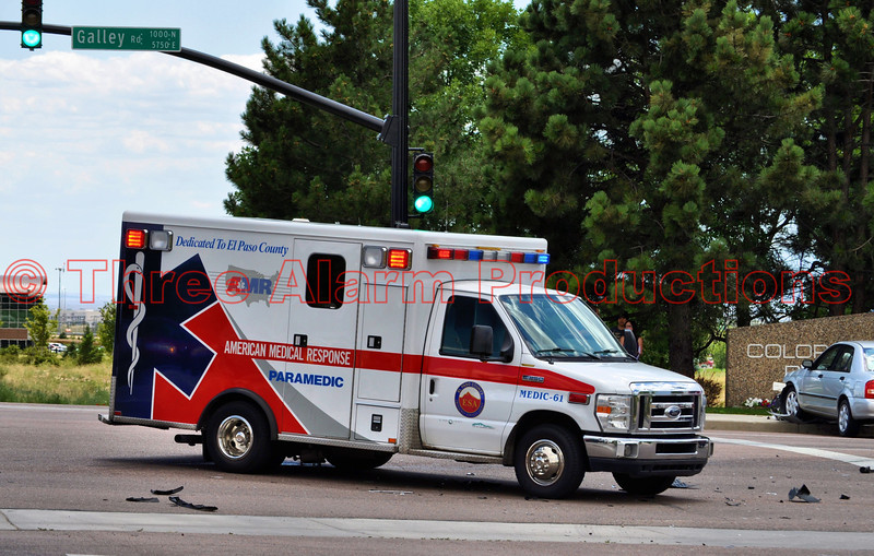American Medical Response Medic-61 on the scene of a traffic accident at Galley Road and Space Center Drive in Colorado Springs, Colorado, USA.