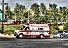 AMR Medic-14 responding code 3 to a medical, seen here at Platte and Chelton in Colorado Springs.