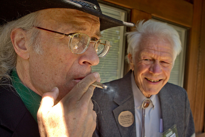 Congressional candidate Andy Caffrey smokes a Marijuana joint with Congressional candidate John Lewallen in Fairfax, Calif., on Thursday, May 17th, 2012.