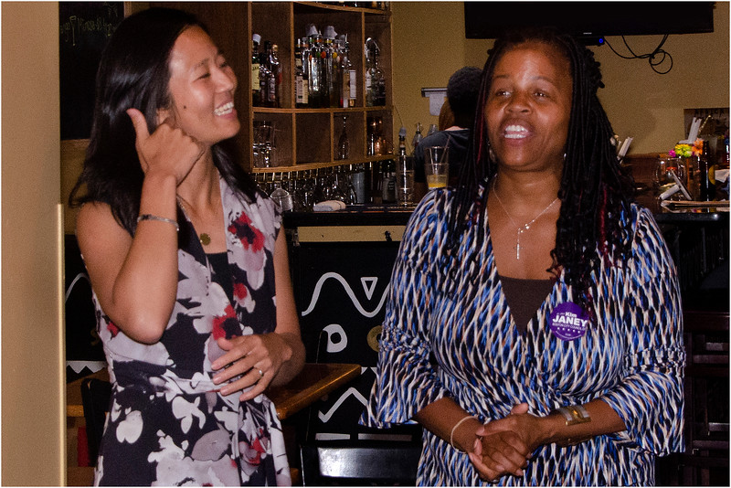 Councilors Michelle Wu and Kim Janey at election night watch party for Wu supporters at Suya Joint on Dudley Street in Roxbury.