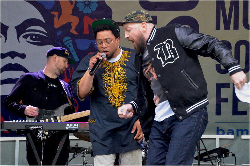 The Arcitype (left), Moe Pope (centre) and Christopher Talken perform one of the tracks from the indie hip-hop group's latest album.