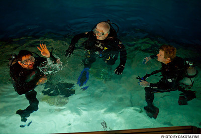 "Brian Weitz of the band ""Animal Collective,"" and friends, scuba dive at the National Aquarium in Baltimore on October 17, 2011. Photo by Dakota Fine."