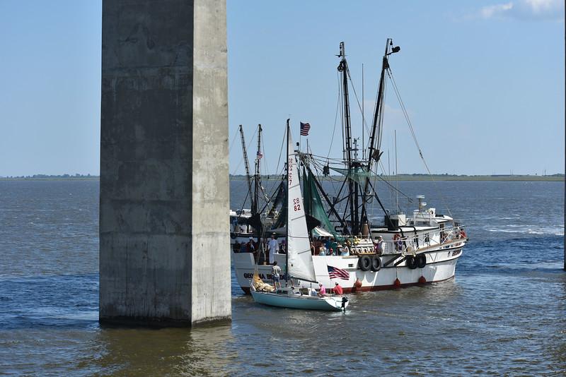 Blessing of the Fleet in Brunswick, Georgia under the Sidney Lanier Bridge 05-10-15