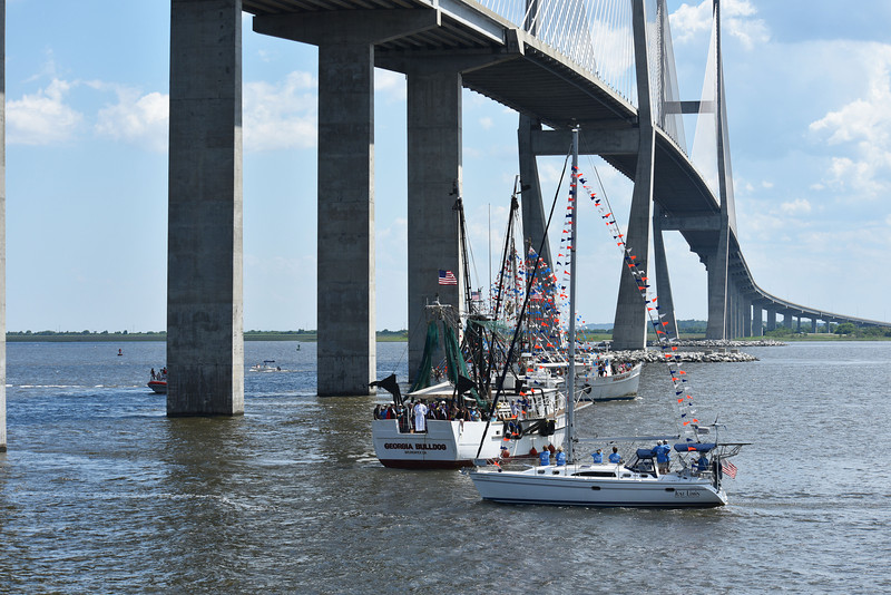 Blessing of the Fleet in Brunswick, Georgia under the Sidney Lanier Bridge 05-10-15