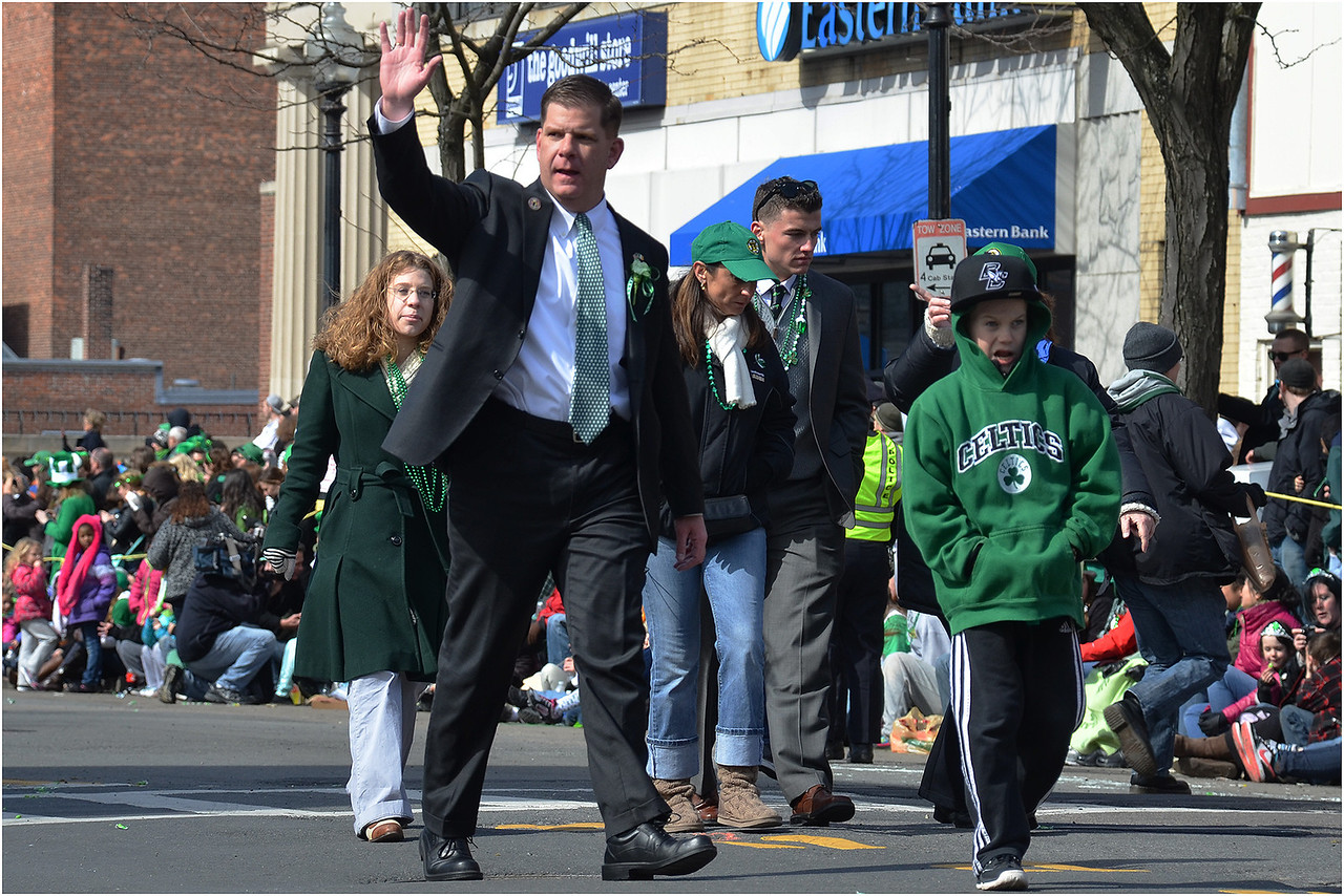 Marty Walsh in 2013 St. Patrick's Day/Evacuation Day Parade in South Boston.