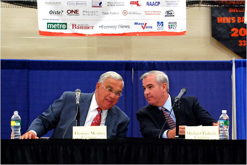 With rival candidate Michael Flaherty at a pre-election forum held in 2009 at the Reggie Lewis Center in Roxbury.