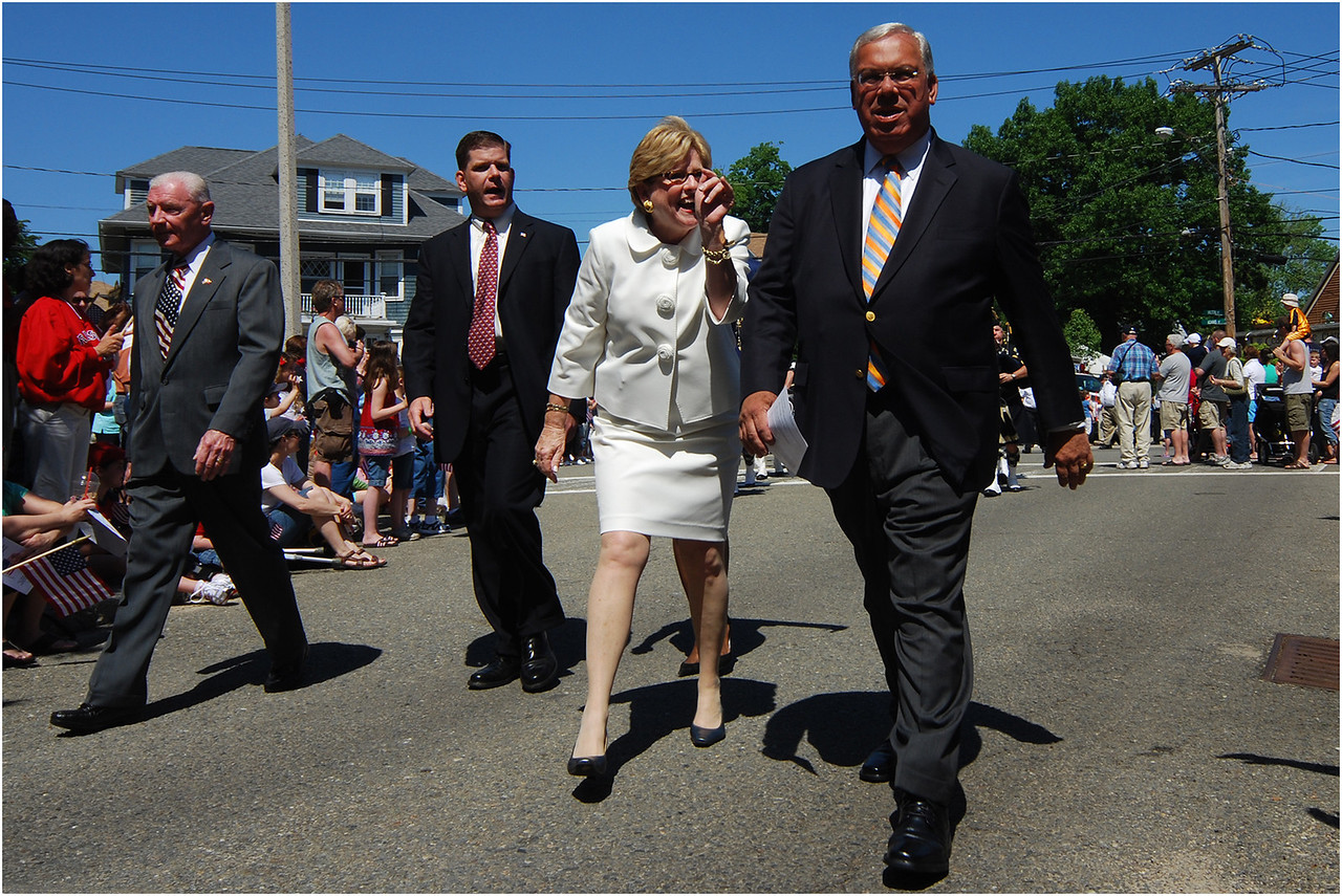 Memorial Day, 2009, at Cedar Grove Cemetery in Dorchester. Menino with State Rep. Marty Walsh and District 3 City Councilor Maureen Feeney.