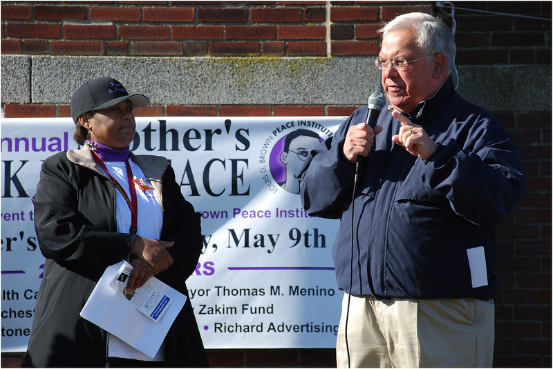 Speaking before the start of the annual Mother's Day Walk for Peace at Town Field in Dorchester.