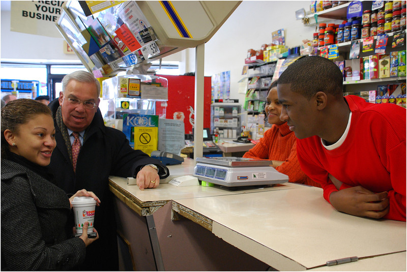With community activist Cynthia Loesch (far left) at Tropic Food Store on Blue Hill Avenue in Dorchester as part of a smoking prevention campaign. December, 2007.