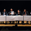 Panelists in policing forum at Roxbury Community College in January, 2015 (left to right): Colin Marts, President, Harvard Black Men's Forum;  Ronald S. Sullivan, Jr., Harvard Law School  professor;  William Gross, Superintendent-In-Chief, Boston Police Dept.; Elizabeth Miranda, community organizer; Michael Curry, President, Boston NAACP; and Steven Tompkins, Suffolk County Sheriff.