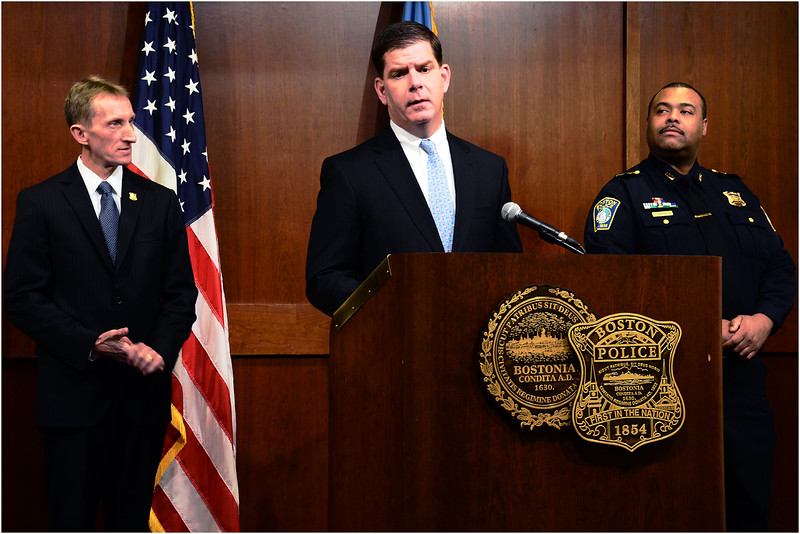 Boston Mayor Marty Walsh announcing leadership of the Boston Police Department in 2014 with Commissioner Paul Evans (left) and Chief of Department William G. Gross (right).
